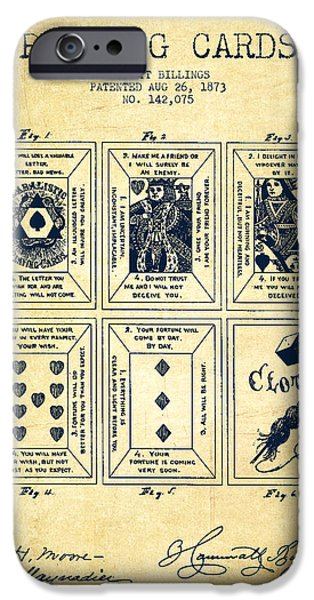 Cards Vintage iPhone Cases - Billings Playing Cards Patent Drawing From 1873 - Vintage iPhone Case by Aged Pixel