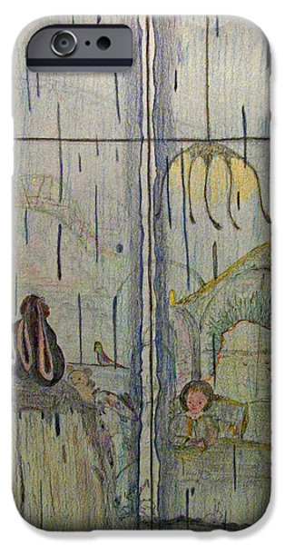 Rainy Day Drawings iPhone Cases - Billy and Mary Rabbits Boy on a Rainy Day  iPhone Case by Patsy  Stanley