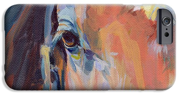 Race Horse Paintings iPhone Cases - Billy iPhone Case by Kimberly Santini
