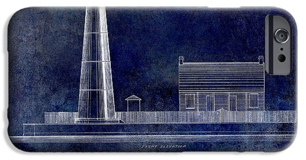 Lighthouse Drawings iPhone Cases - Biloxi Lighthouse Drawing Blue iPhone Case by Jon Neidert