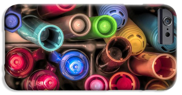 Marker iPhone Cases - Bin Full of Markers iPhone Case by Scott Norris