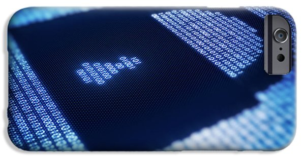 Recently Sold -  - Cyberspace iPhone Cases - Binary code and lock shape on pixellated screen iPhone Case by Johan Swanepoel
