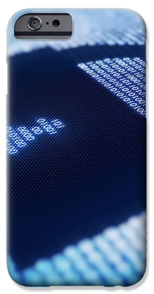 Binary code and lock shape on pixellated screen iPhone Case by Johan Swanepoel