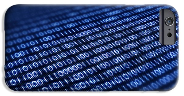 Electronic iPhone Cases - Binary code on pixellated screen iPhone Case by Johan Swanepoel