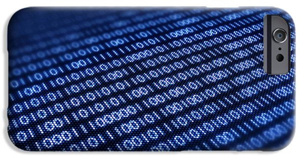 Information iPhone Cases - Binary code on pixellated screen iPhone Case by Johan Swanepoel