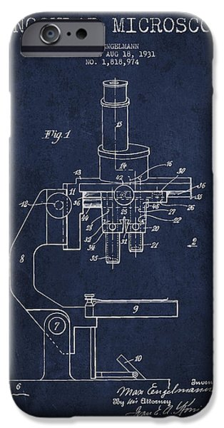 Microscope iPhone Cases - Binocular Microscope Patent Drawing from 1931 - Navy Blue iPhone Case by Aged Pixel