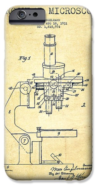 Microscope iPhone Cases - Binocular Microscope Patent Drawing from 1931-Vintage iPhone Case by Aged Pixel