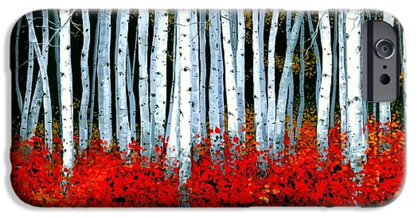 Autumn Woods iPhone Cases - Birch 24 x 48 - SOLD iPhone Case by Michael Swanson