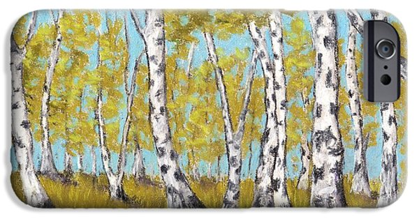 Blue Pastels iPhone Cases - Birch Grove iPhone Case by Anastasiya Malakhova