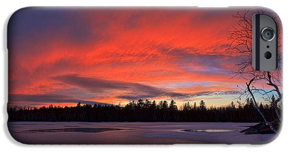 Snow Scene iPhone Cases - Birch Point Sunset Panorama iPhone Case by Bill Caldwell -        ABeautifulSky Photography