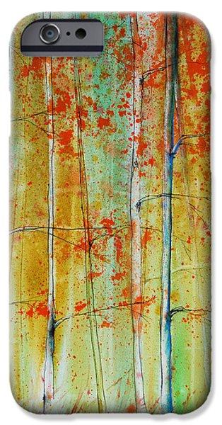 Freimann iPhone Cases - Birch Tree Forest iPhone Case by Jani Freimann