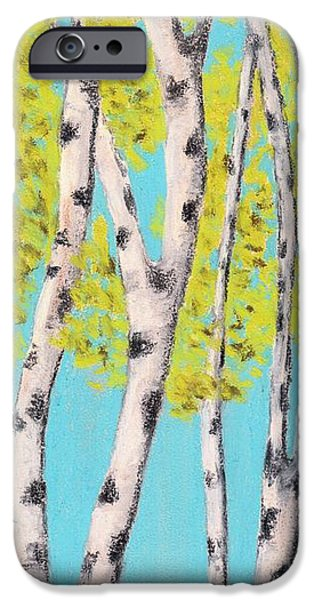 Outdoors Pastels iPhone Cases - Birch Trees iPhone Case by Anastasiya Malakhova