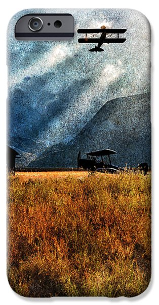 Old Barns iPhone Cases - Birch Trees and Biplanes  iPhone Case by Bob Orsillo