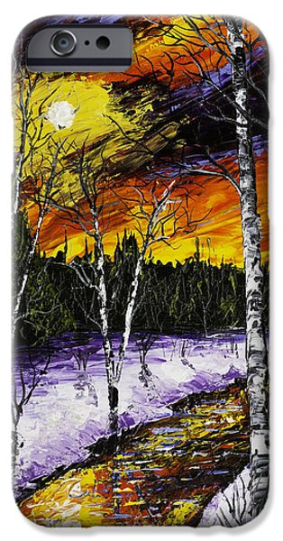 Winter Weather iPhone Cases - Birch Trees And Stream In Winter iPhone Case by Keith Webber Jr