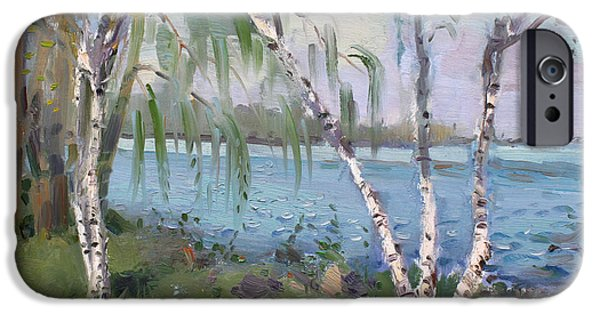 Birch iPhone Cases - Birch trees by the River iPhone Case by Ylli Haruni