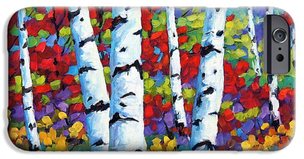 Canadiens Paintings iPhone Cases - Birches in abstract by Prankearts iPhone Case by Richard T Pranke
