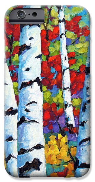 Birches in abstract by Prankearts iPhone Case by Richard T Pranke
