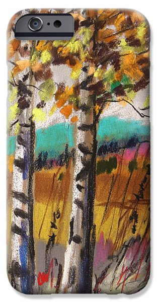 Jmw Pastels iPhone Cases - Birches in Autumn Light iPhone Case by John  Williams
