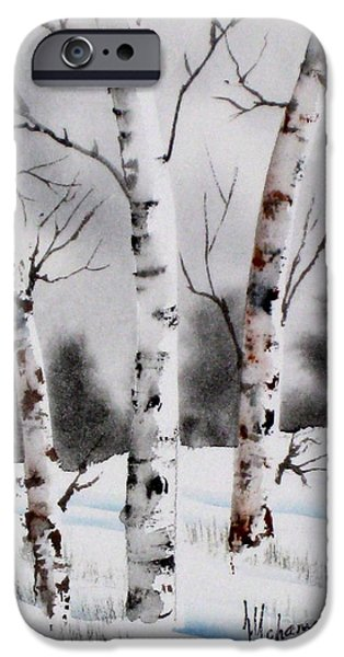 Snowy Day iPhone Cases - Birches iPhone Case by Mohamed Hirji