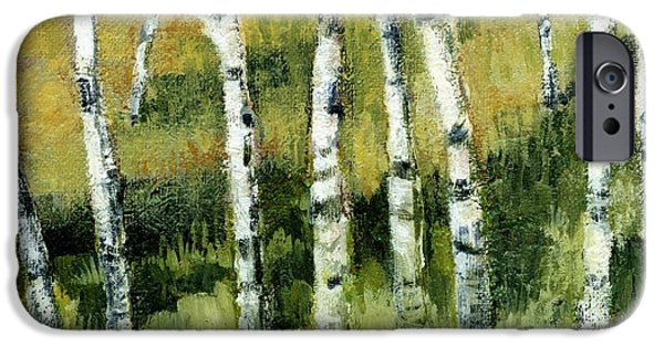 Sun Paintings iPhone Cases - Birches on a Hill iPhone Case by Michelle Calkins