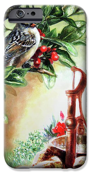 Garden Scene Paintings iPhone Cases - Bird and berries iPhone Case by Gina Femrite