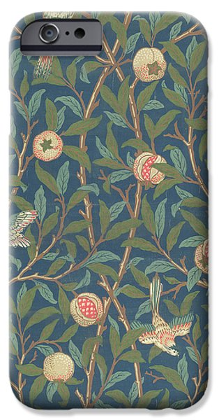 Animals Tapestries - Textiles iPhone Cases - Bird and Pomegranate iPhone Case by William Morris