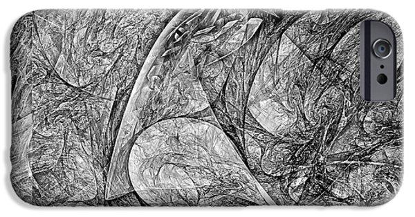 Abstract Digital Art iPhone Cases - Bird B-W 625 - marucii iPhone Case by Marek Lutek