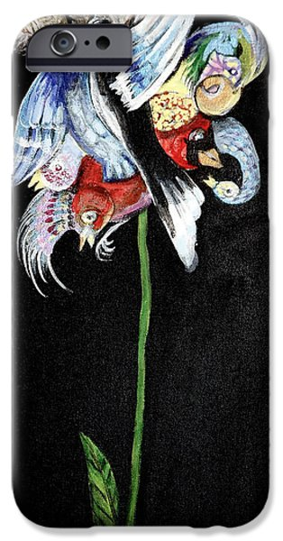 Small iPhone Cases - Bird Flower iPhone Case by Donna Goodwin