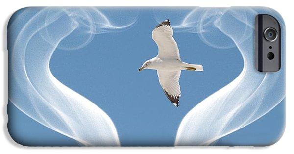 Sea Birds Digital Art iPhone Cases - Bird in flight iPhone Case by Athala Carole Bruckner