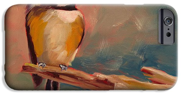 Cage Paintings iPhone Cases - Bird in Hand iPhone Case by Kari Melen