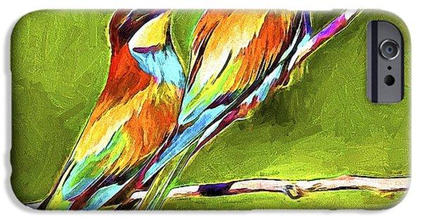 House Pet Digital Art iPhone Cases - Bird Love iPhone Case by Yury Malkov