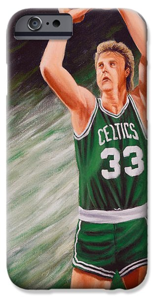 Larry Bird Paintings iPhone Cases - Bird iPhone Case by Marlon Huynh