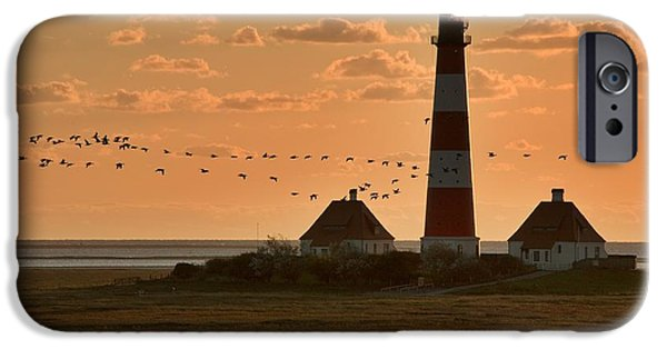 North Sea iPhone Cases - Bird Migration at Westerhever Lighthouse  iPhone Case by Heiko Koehrer-Wagner