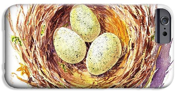 Birds iPhone Cases - Bird Nest A Happy Trio iPhone Case by Irina Sztukowski