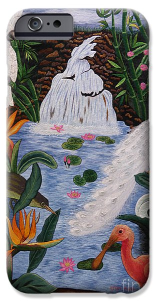Animal Tapestries - Textiles iPhone Cases - Bird of Paradise hand embroidery iPhone Case by To-Tam Gerwe