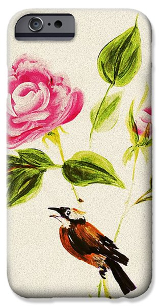 Small iPhone Cases - Bird on a Flower iPhone Case by Anastasiya Malakhova