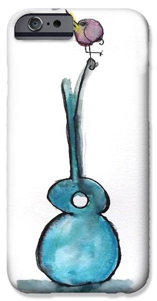 Cartoon Birds iPhone Cases - Bird on Guitar iPhone Case by Suzen JueL
