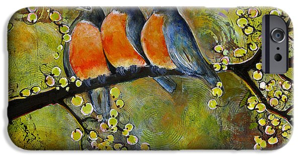 Three iPhone Cases - Three Little Robin Birds iPhone Case by Blenda Studio