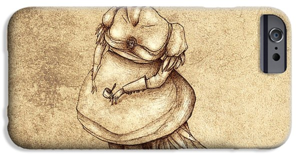 People Drawings iPhone Cases - Bird Woman iPhone Case by Autogiro Illustration