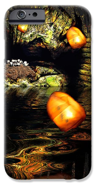 Mystical Landscape Mixed Media iPhone Cases - Birdcave iPhone Case by Carl Rolfe