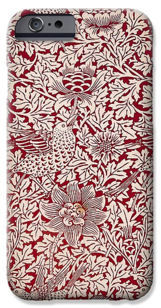 Birds Tapestries - Textiles iPhone Cases - Birds and Anenomes Pattern iPhone Case by William Morris