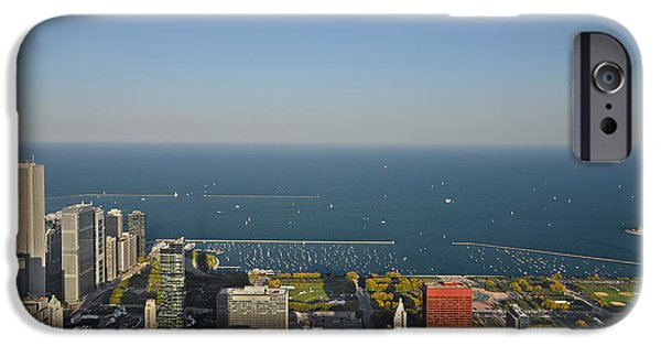 Interior Scene iPhone Cases - Birds eye view of Chicagos lakefront iPhone Case by Christine Till