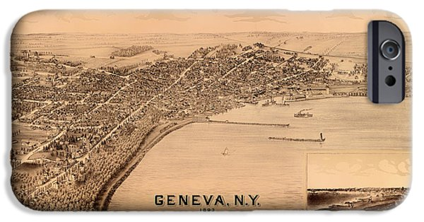 Location Drawings iPhone Cases - Birds-Eye View of Geneva New York 1893 iPhone Case by Mountain Dreams