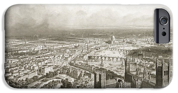 River View Drawings iPhone Cases - Birds Eye View of London from Westminster Abbey iPhone Case by Nicolas Marie Joseph Chapuy