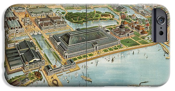 Fair iPhone Cases - Birds eye view of the Worlds Columbian Exposition Chicago 1893 iPhone Case by Vintage Map