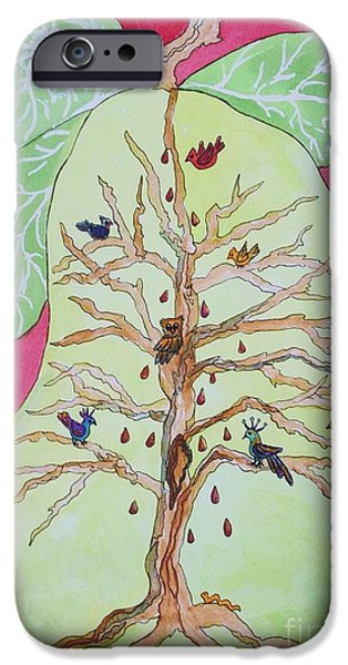 Pear Tree Paintings iPhone Cases - Birds in a Pear Tree  iPhone Case by Ellen Levinson