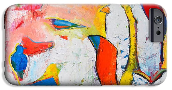 Abstract Expressionism iPhone Cases - Birds In Paradise iPhone Case by Ana Maria Edulescu