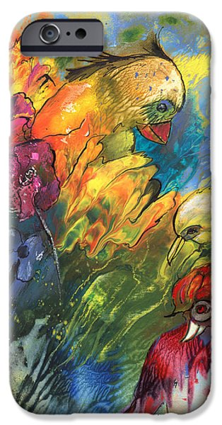 Animal Drawings iPhone Cases - Birds In Paradise iPhone Case by Miki De Goodaboom