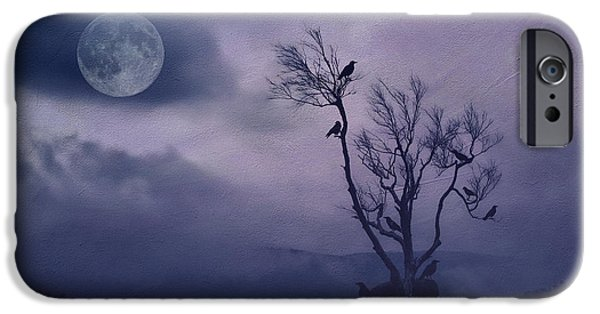 Eerie iPhone Cases - Birds in the Night iPhone Case by Darren Fisher