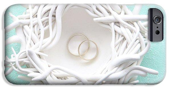 Home Ceramics iPhone Cases - Birds Nest Ring Bearer Bowl - Love Birds iPhone Case by Lenka Kasprisin